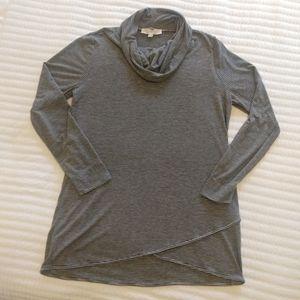 Loft Cowl Neck Tunic Gray/Black Stripe Sz L